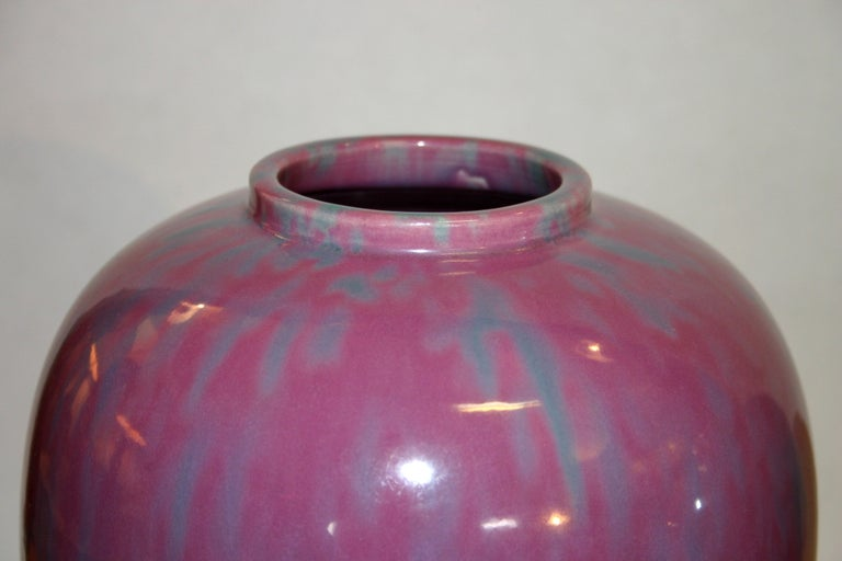 Pair Awaji Pottery Art Deco Pink Flambé Ginger Jars Large Garniture In Excellent Condition For Sale In Wilton, CT