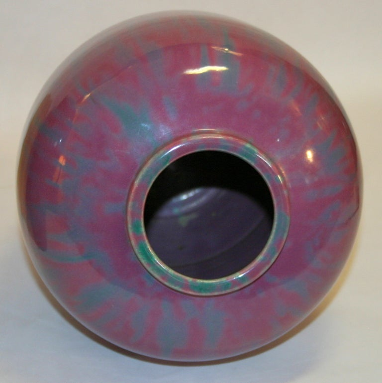 Mid-20th Century Pair Awaji Pottery Art Deco Pink Flambé Ginger Jars Large Garniture For Sale