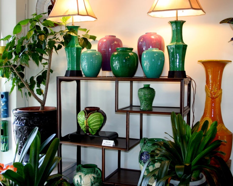 Pair Awaji Pottery Art Deco Pink Flambé Ginger Jars Large Garniture For Sale 2