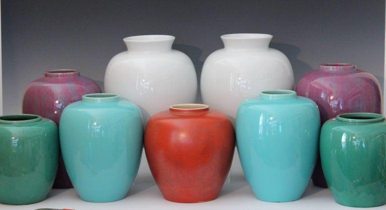 Pair Awaji Pottery Art Deco Pink Flambé Ginger Jars Large Garniture For Sale 3