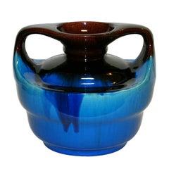Japanese Kyoto Pottery Turquoise Drip Glaze Vase