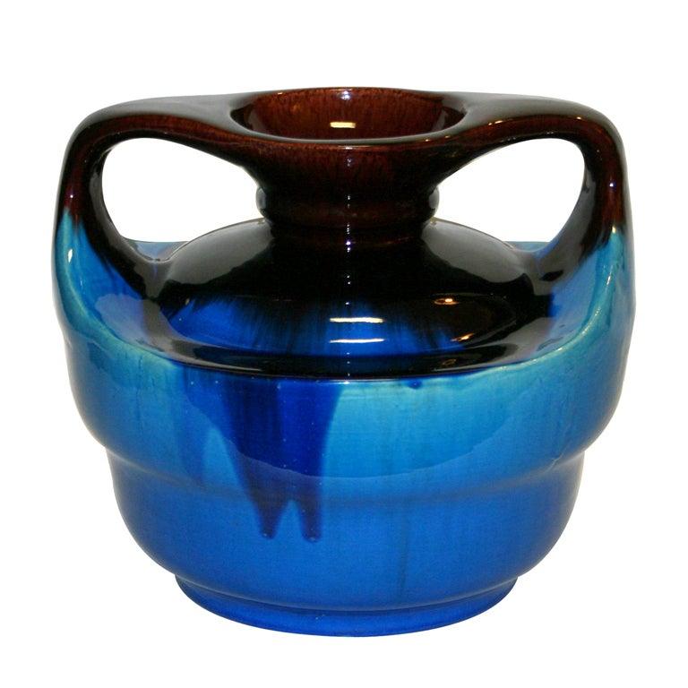 Japanese Kyoto Pottery Turquoise Drip Glaze Vase For Sale