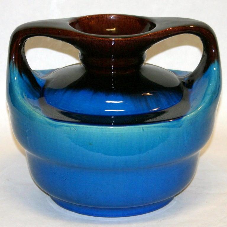 Art Nouveau Japanese Kyoto Pottery Turquoise Drip Glaze Vase For Sale