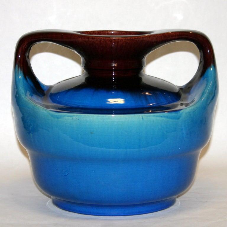 Turned Japanese Kyoto Pottery Turquoise Drip Glaze Vase For Sale