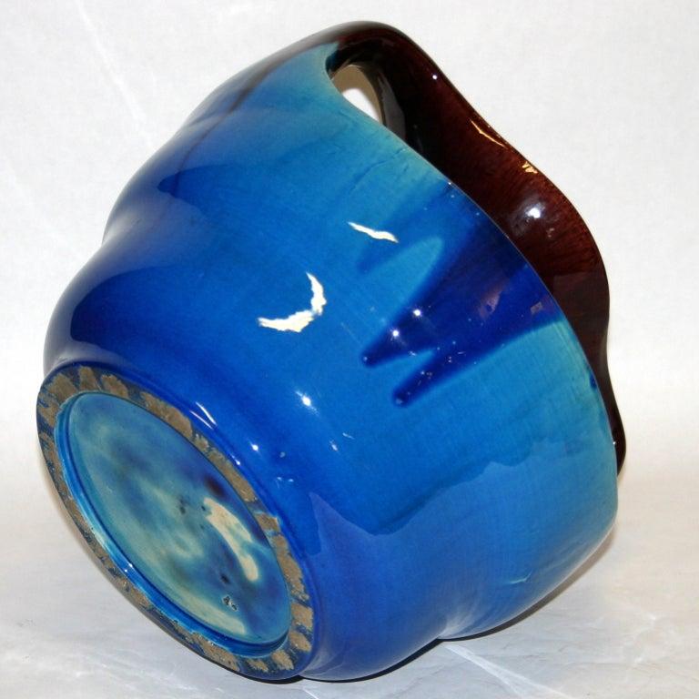 Japanese Kyoto Pottery Turquoise Drip Glaze Vase For Sale 1