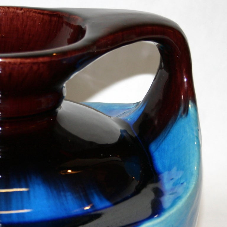 Japanese Kyoto Pottery Turquoise Drip Glaze Vase For Sale 2