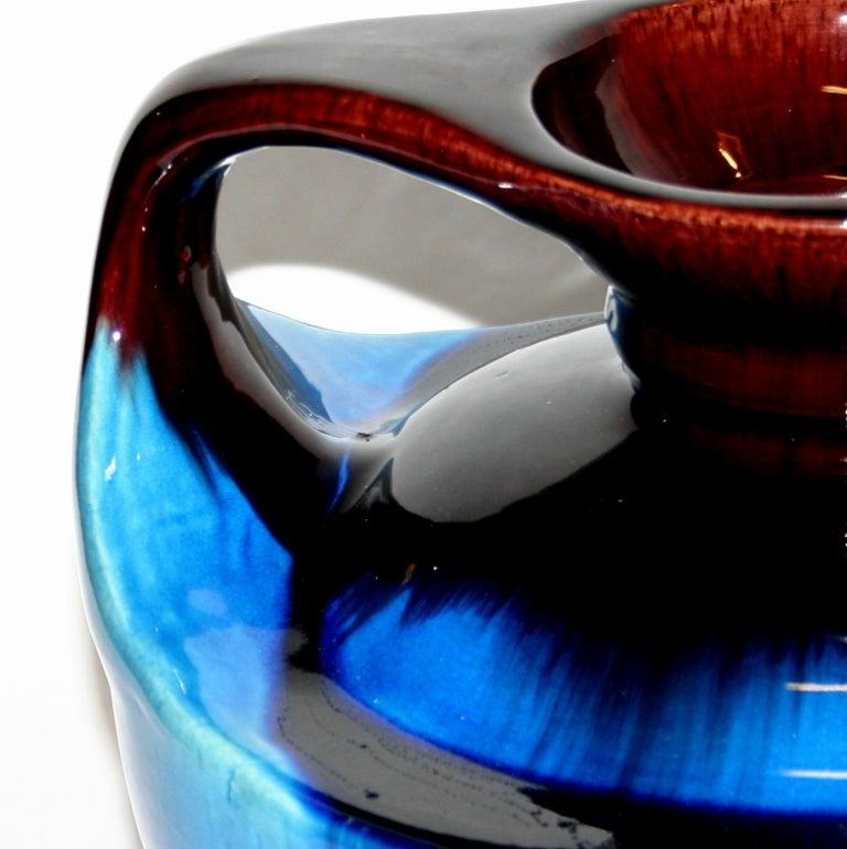 Japanese Kyoto Pottery Turquoise Drip Glaze Vase For Sale 3