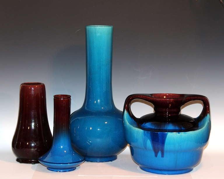 Japanese Kyoto Pottery Turquoise Drip Glaze Vase For Sale 4