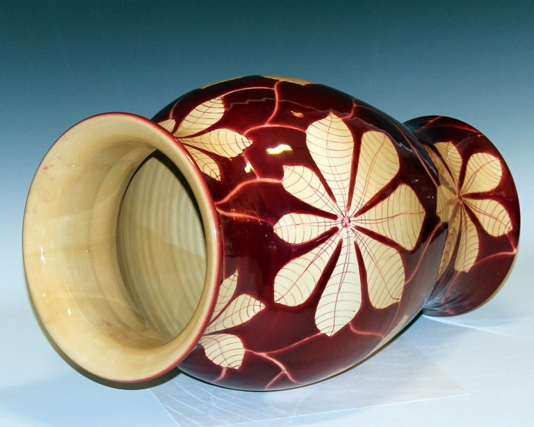 Turned Vintage Italian Bellini Pottery Vase for Wannamaker's For Sale