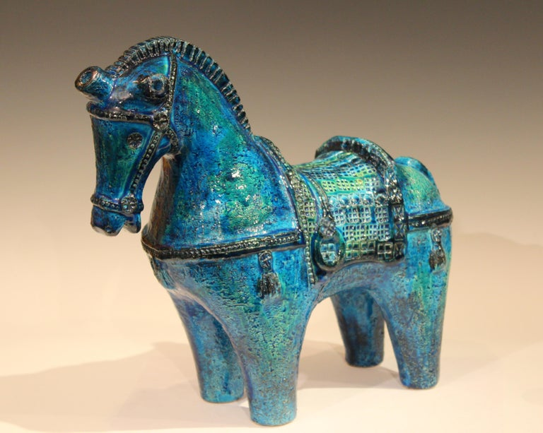 Huge Bitossi Rimini Blue Horse Italian Londi Pottery Raymor Figure Sculpture In Excellent Condition For Sale In Wilton, CT
