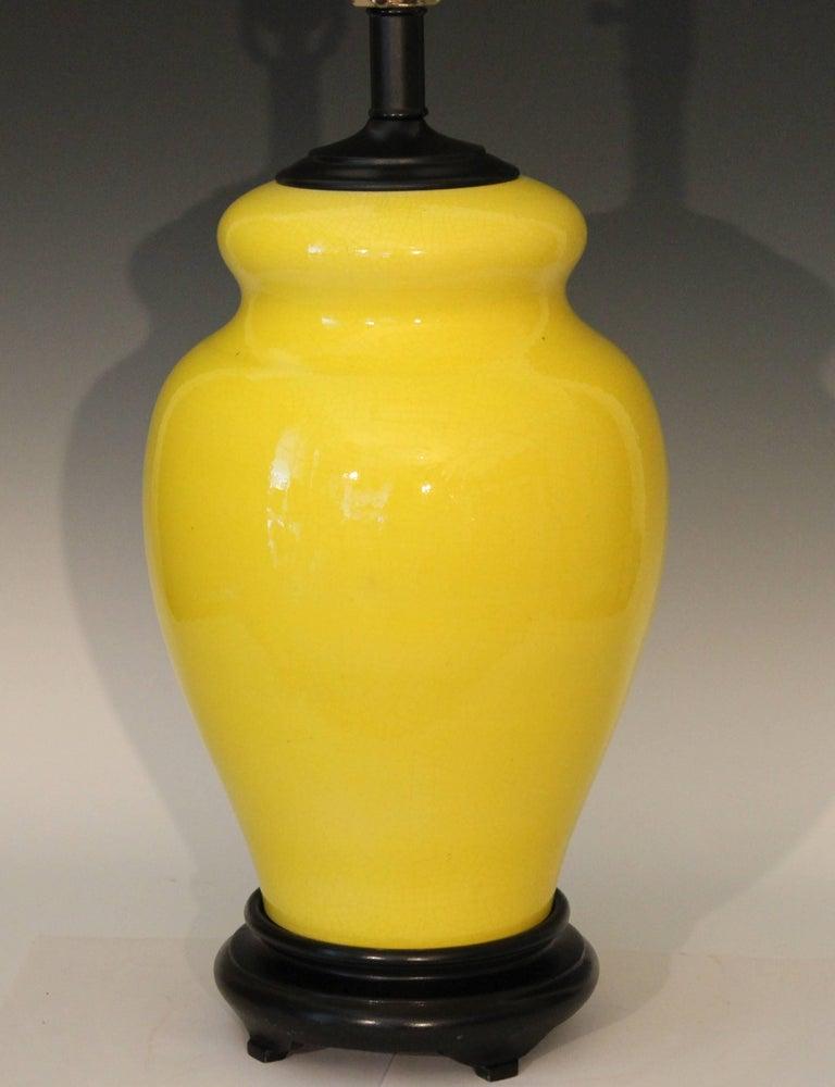 Modern Alvino Bagni Atomic Chrome Crackle Yellow Italian Pottery Raymor Gourd Lamp For Sale