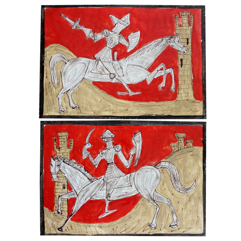 Pair of Petucco Nove Italian Midcentury Marini Horseman Knight Wall Tile Plaques For Sale