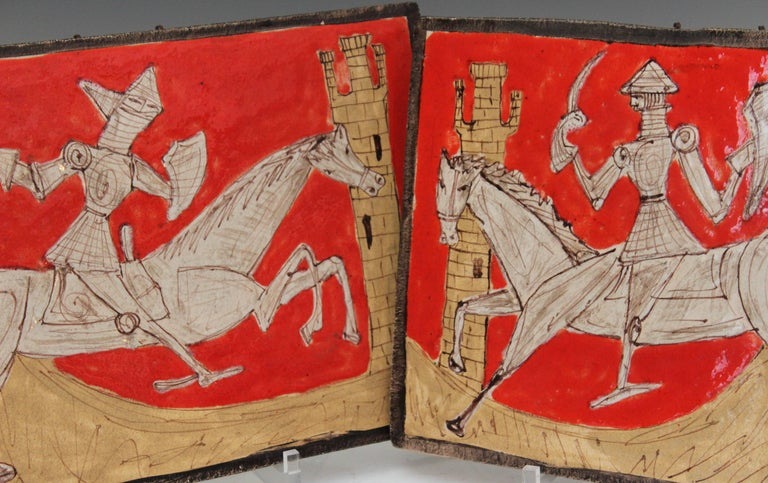 Great matched pair of vintage midcentury Giovanni Petucco of Nove (1910-1961) pottery plaques depicting Renaissance era knights facing off in a manner seemingly more pageant than battle. The figures sketched with warm grays in a flat, cubism
