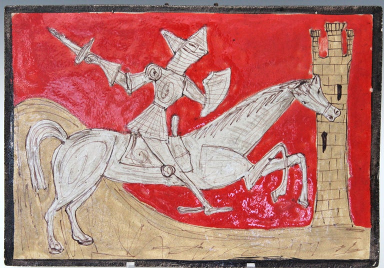 Modern Pair of Petucco Nove Italian Midcentury Marini Horseman Knight Wall Tile Plaques For Sale