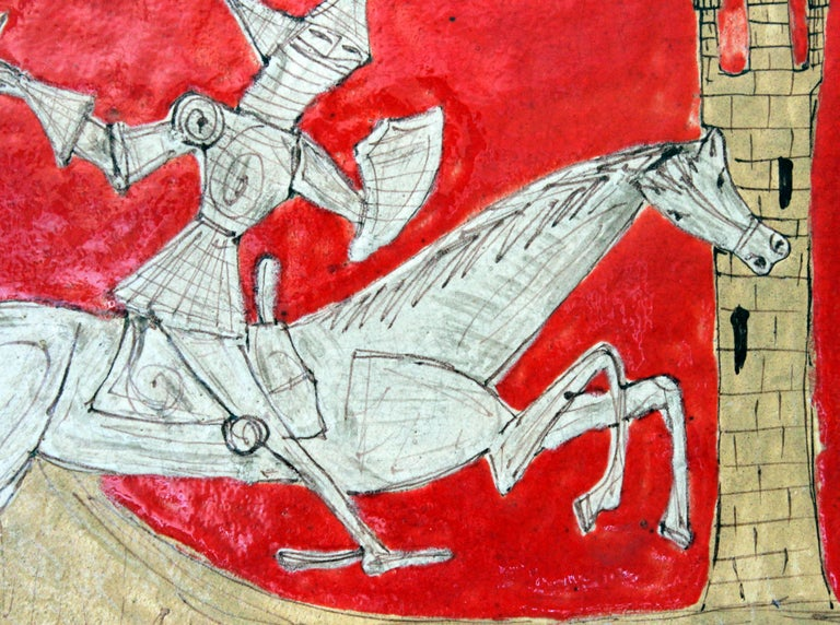 Glazed Pair of Petucco Nove Italian Midcentury Marini Horseman Knight Wall Tile Plaques For Sale