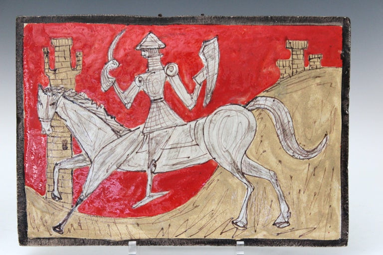 20th Century Pair of Petucco Nove Italian Midcentury Marini Horseman Knight Wall Tile Plaques For Sale