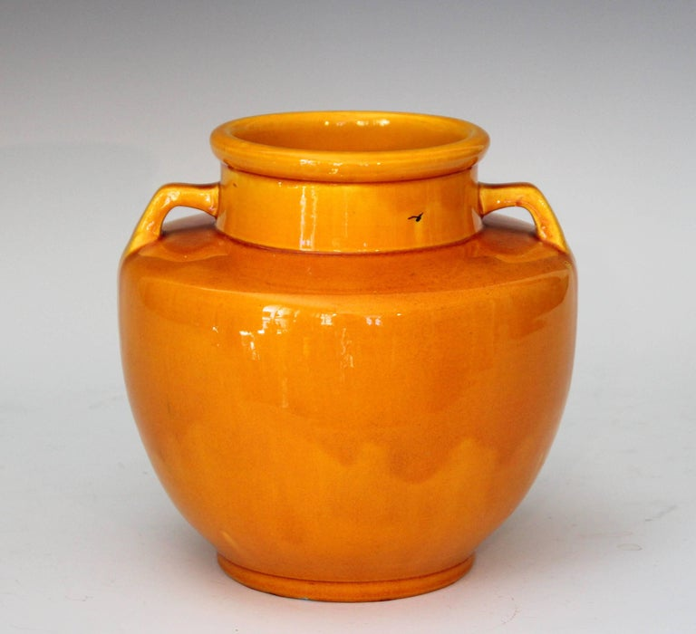 Vintage hand-turned Awaji vase in sleek Art Deco form and bright yellow glaze, circa 1930. Measures: 7 1/4