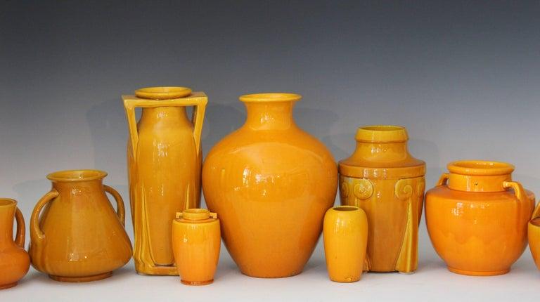 Awaji Pottery Japanese Art Deco Vase with Bright Yellow Monochrome Glaze For Sale 2