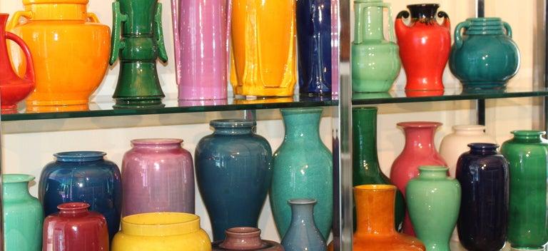 Awaji Pottery Japanese Art Deco Vase with Bright Yellow Monochrome Glaze For Sale 3