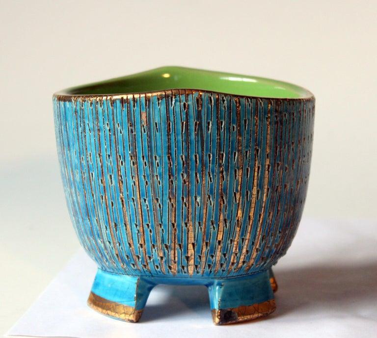 Mid-Century Modern Bitossi Seta Blue Gold Pottery Londi Italian Raymor Vintage Pencil Jar Candy Bow For Sale