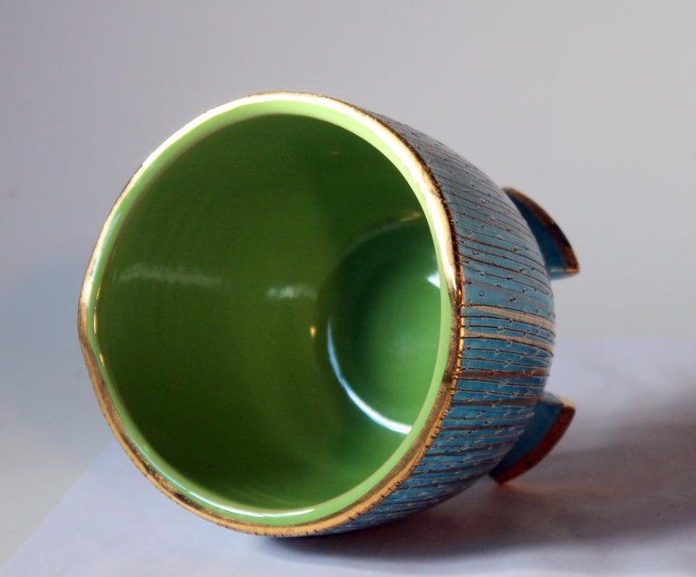Turned Bitossi Seta Blue Gold Pottery Londi Italian Raymor Vintage Pencil Jar Candy Bow For Sale