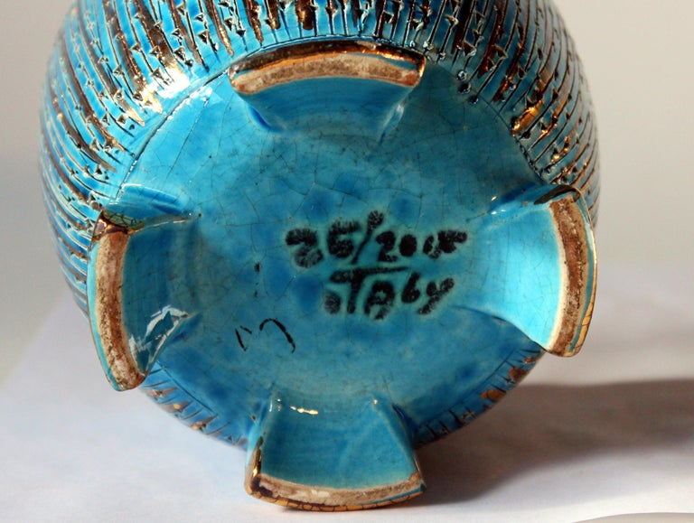 Mid-20th Century Bitossi Seta Blue Gold Pottery Londi Italian Raymor Vintage Pencil Jar Candy Bow For Sale