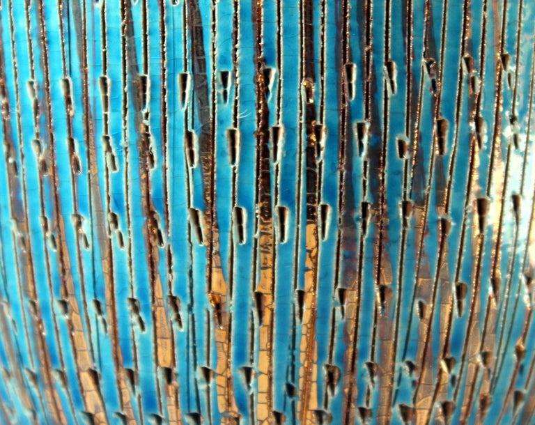 Bitossi Seta Blue Gold Pottery Londi Italian Raymor Vintage Pencil Jar Candy Bow For Sale 3