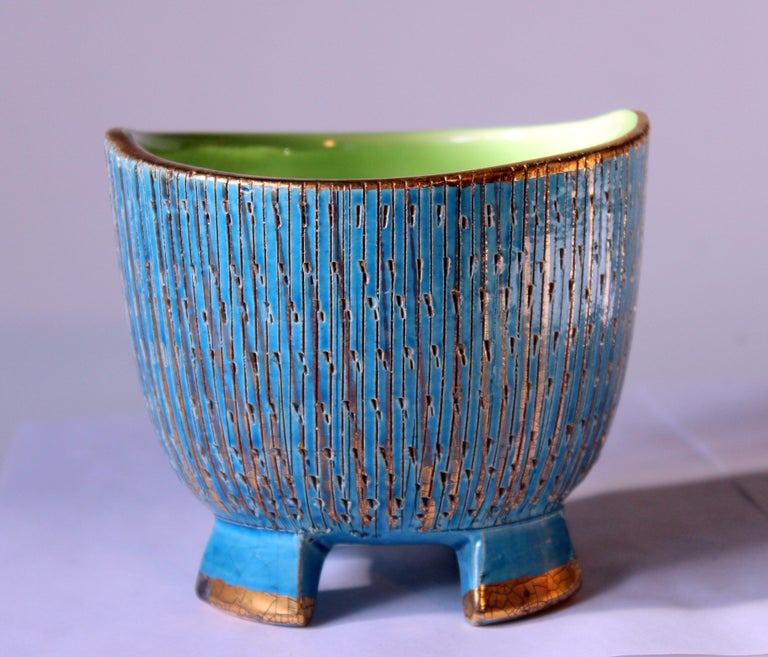 Bitossi Seta Blue Gold Pottery Londi Italian Raymor Vintage Pencil Jar Candy Bow For Sale 4