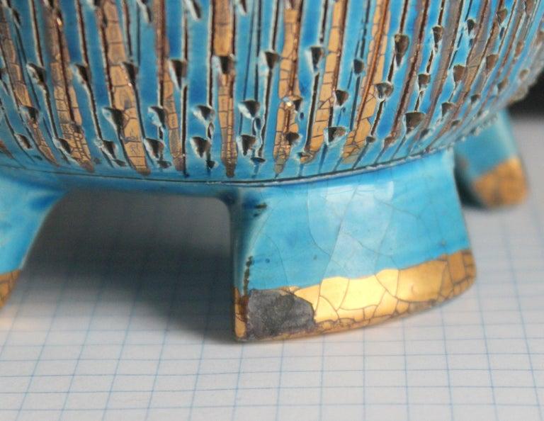 Bitossi Seta Blue Gold Pottery Londi Italian Raymor Vintage Pencil Jar Candy Bow For Sale 1