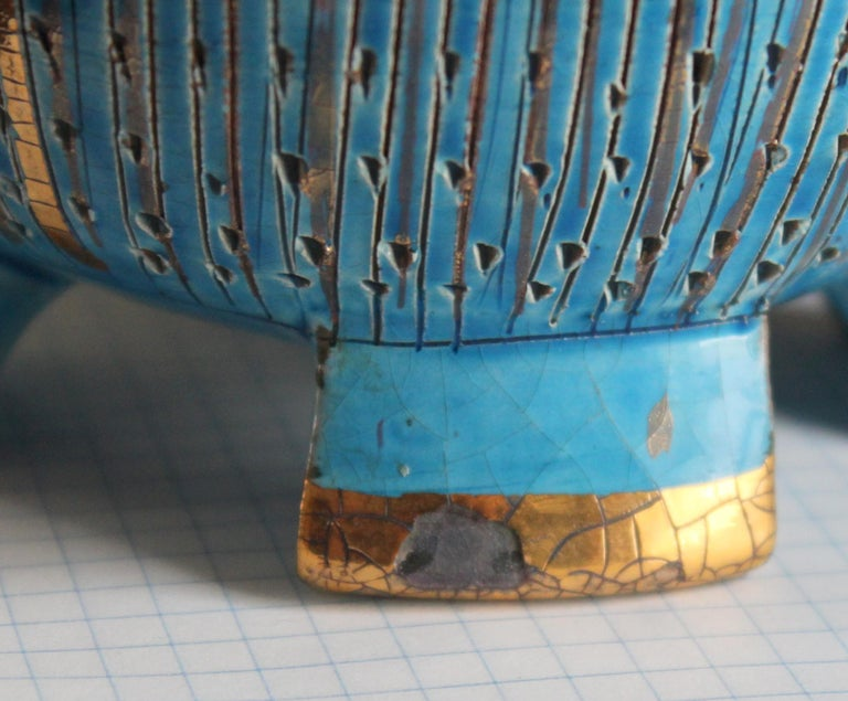 Bitossi Seta Blue Gold Pottery Londi Italian Raymor Vintage Pencil Jar Candy Bow For Sale 2