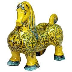 Große italienische Vintage Keramik, atomaren gelbe Glasur, Pferdefigur, Mancioli Raymor