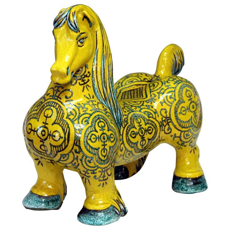 Huge Vintage Italian Pottery Atomic Yellow Glaze Horse Figure Mancioli Raymor For Sale