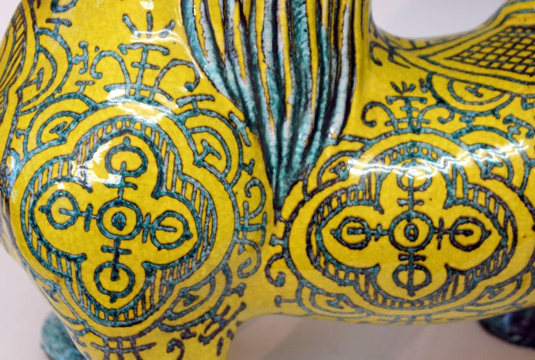 Huge Vintage Italian Pottery Atomic Yellow Glaze Horse Figure Mancioli Raymor For Sale 4