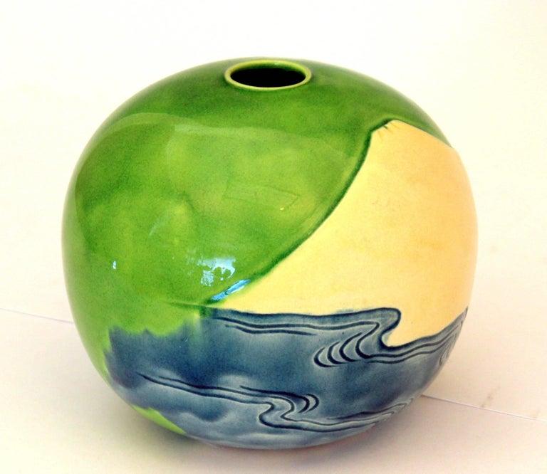 Arts and Crafts Antique Awaji Pottery Vase Carved Sky, Mt. Fuji, Ocean For Sale