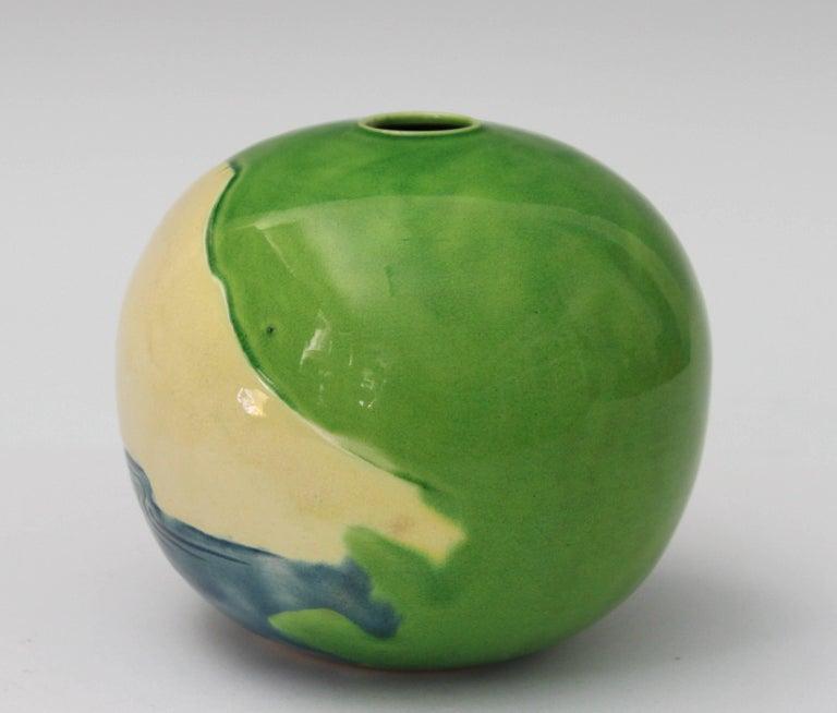 Japanese Antique Awaji Pottery Vase Carved Sky, Mt. Fuji, Ocean For Sale
