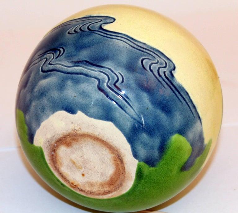 Antique Awaji Pottery Vase Carved Sky, Mt. Fuji, Ocean For Sale 1