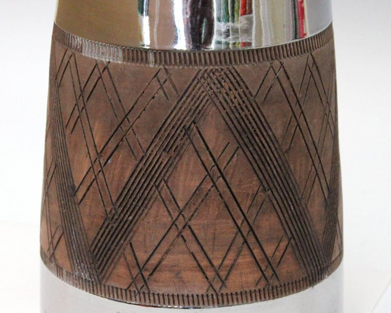 Large Bitossi Ceramic Italian Pottery Platinum Silver Luster Vase Raymor For Sale 1