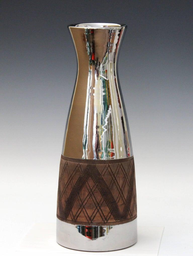 Large Bitossi Ceramic Italian Pottery Platinum Silver Luster Vase Raymor For Sale 3