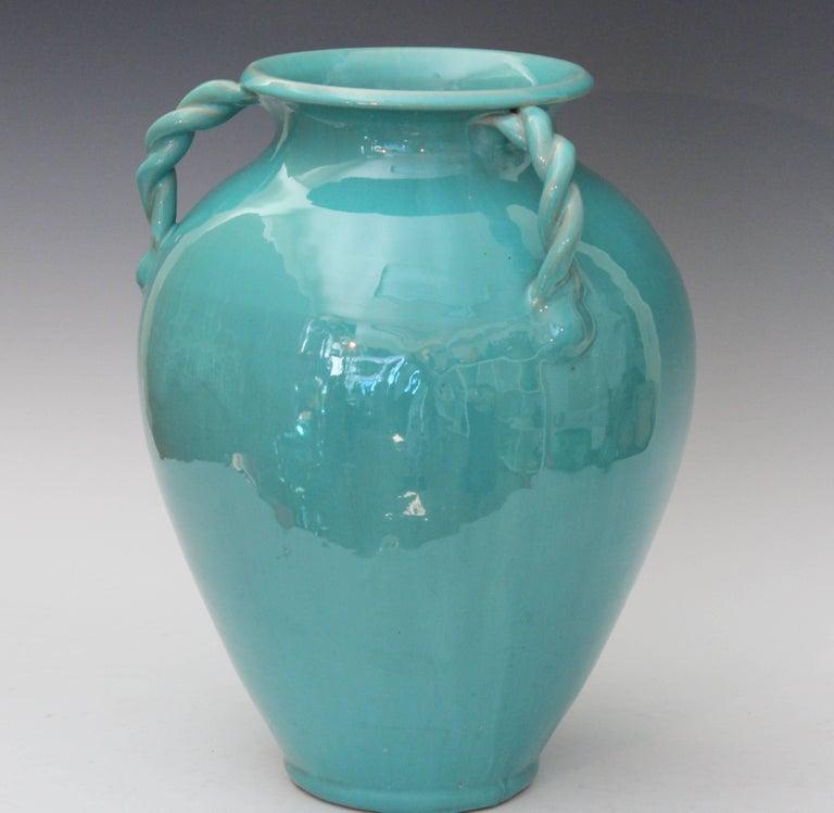 Vintage North Carolina Art Pottery Royal Crown Rope Twist Handle Signed For Sale 1