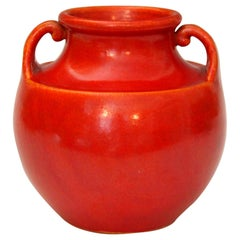 Vintage Awaji Pottery Art Deco, 1930s Vase in Crystalline Chrome Red Glaze