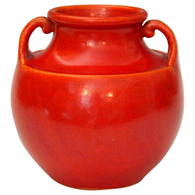 Vintage Awaji Pottery Art Deco, 1930s Vase in Crystalline Chrome Red Glaze For Sale