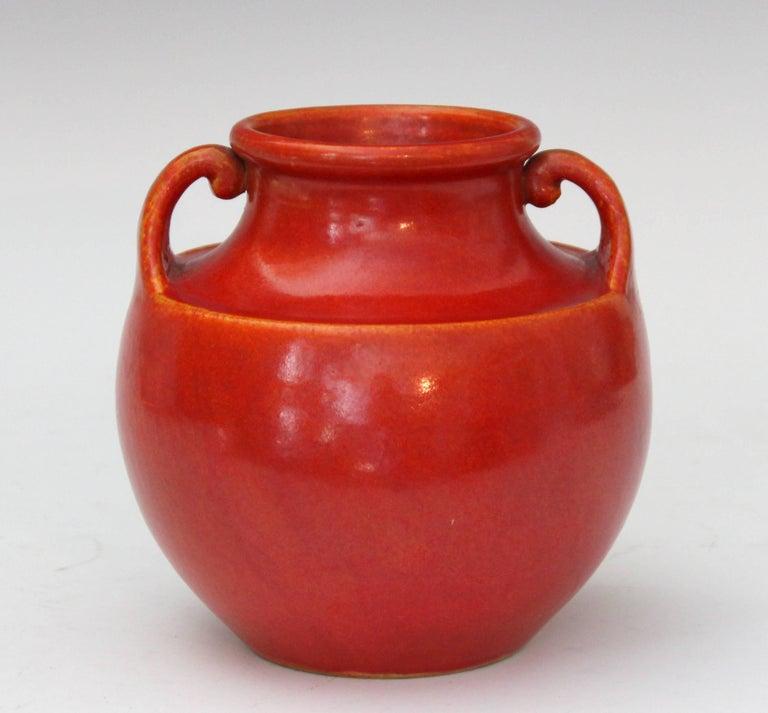 Vintage Awaji Pottery vase in chromium orange/red crystalline glaze, circa 1930. Measures: 6