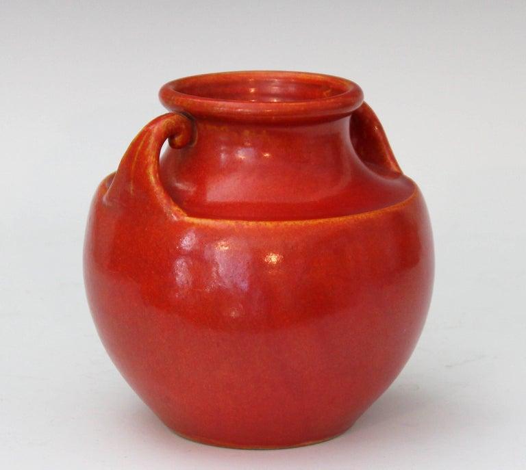 Turned Vintage Awaji Pottery Art Deco, 1930s Vase in Crystalline Chrome Red Glaze For Sale