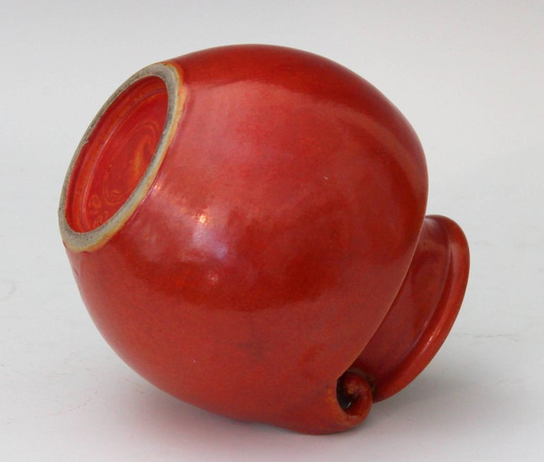Mid-20th Century Vintage Awaji Pottery Art Deco, 1930s Vase in Crystalline Chrome Red Glaze For Sale