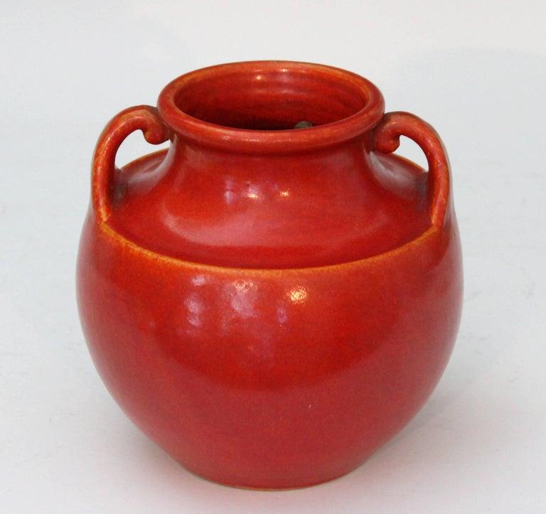 Vintage Awaji Pottery Art Deco, 1930s Vase in Crystalline Chrome Red Glaze For Sale 2