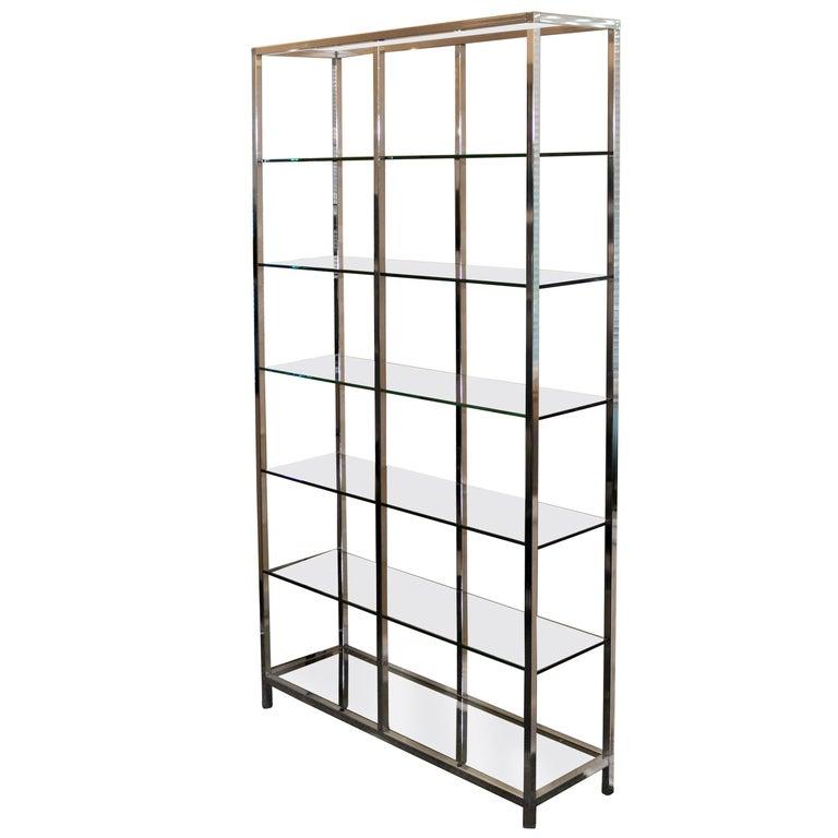 Midcentury Chrome Metal Shelf Étagère Display Baughman For Sale