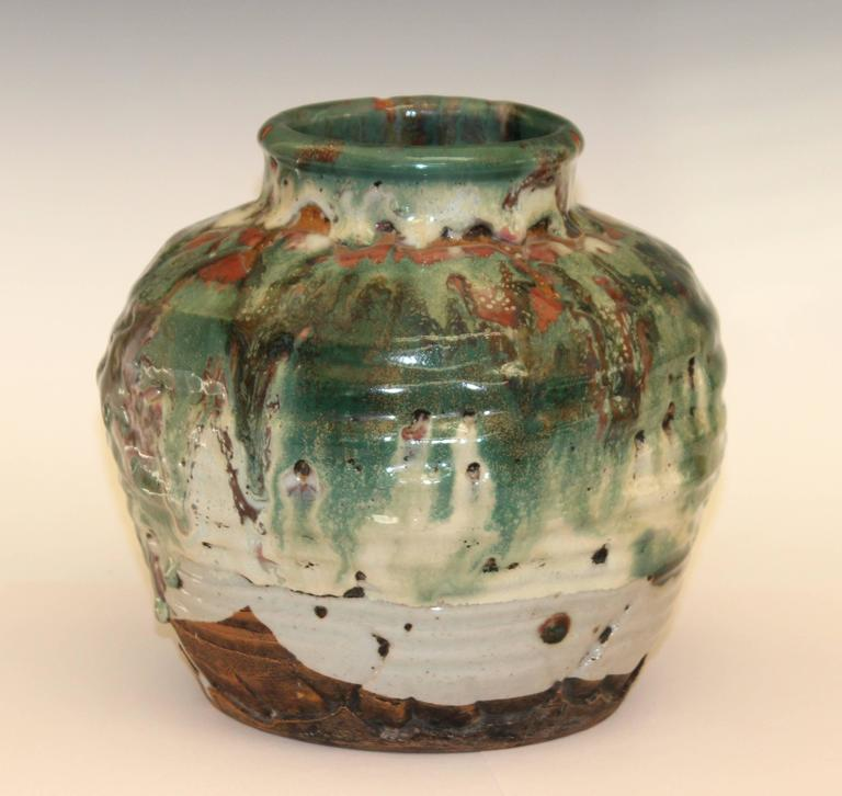 Awaji Pottery Vase Manipulated Tea Ceremony Zen Japanese Volcanic
