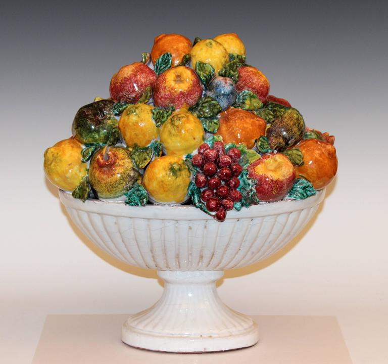 Extra Large Vintage Italian Majolica Fruit Centerpiece Loaded With Handmade Fruits In Great Detail