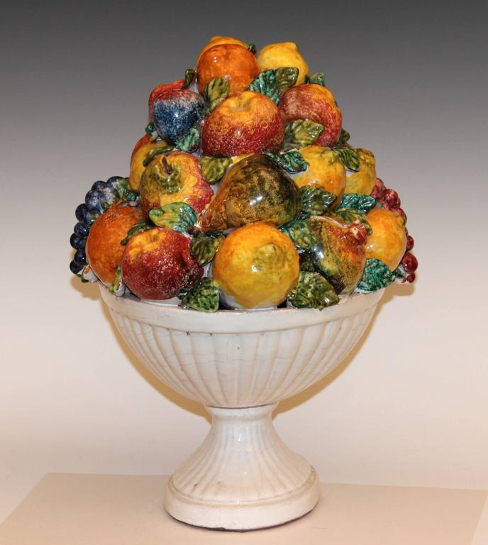 Large vintage italian majolica pottery fruit bowl table for Dining table centerpieces for sale