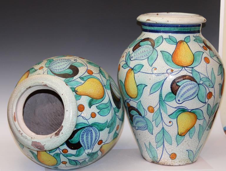 Large Pair Vintage Italian Pottery Faience Majolica Vases Urns Old